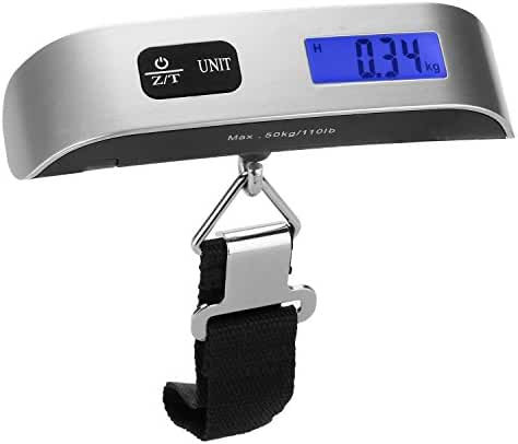 [Backlight LCD Display Luggage Scale]Dr.meter 110lb/50kg Electronic Balance Digital Postal Luggage Hanging Scale with Rubber Paint Handle,Temperature Sensor, Silver/Black