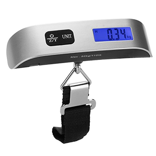 [Backlight LCD Display Luggage Scale]Dr.meter 110lb/50kg Electronic Balance Digital Postal Luggage Hanging Scale with Rubber Paint Handle,Temperature Sensor, Silver/Black Doctor Weight Scale