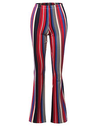 SSOULM Women's Lightweight High Waist Bell Bottom Flared Pants STRIPERED S