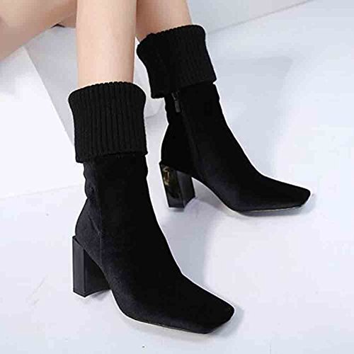 Frosted Chunky Zipper Heel Easemax Stitching Trendy Mid Black Toe Square Womens Boots Woven 6q8ERq