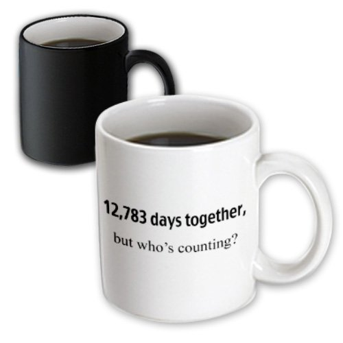 3dRose 12,783 Days Together But Who's Counting, 35th Anniversary, Magic Transforming Mug, 11-Oz