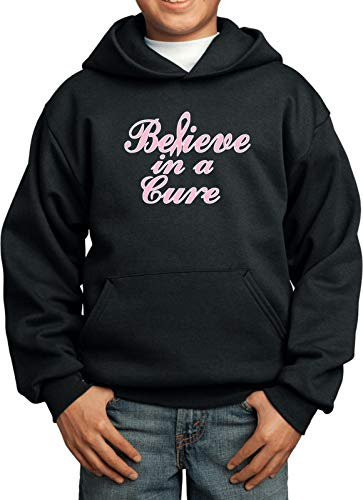 Breast Cancer Believe in a Cure Youth Kids Hoodie, Black Medium