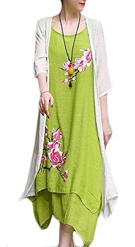 Set Loose Dress Style Chinese 1 Leisure Linen Summer Women Print 2PC Jaycargogo Cotton OUfTvv
