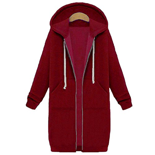 Your Gallery Women's Casual Long Hoodies Sweatshirt Coat Pockets Zip up Outerwear Hooded Jacket Plus Size Tops,Burgundy,4XL ()