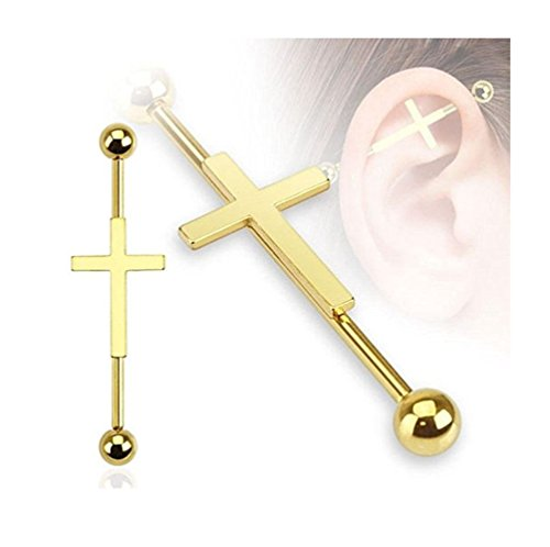 Surgical Stainless Steel Industrial Barbell Earring 14 Gauge Cartilage Earring Gold Plated Cross Body Piercing With Cubic Zirconia
