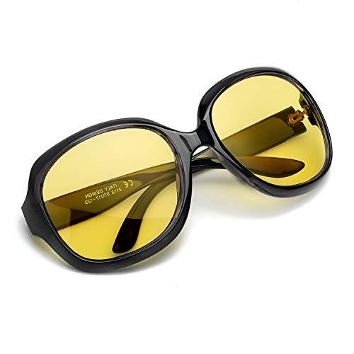 Myiaur Oversized Night Driving Glasses for Women, Polarized Lens Stylish,Safety Nighttime/Rainy/Cloudy (Black-2)