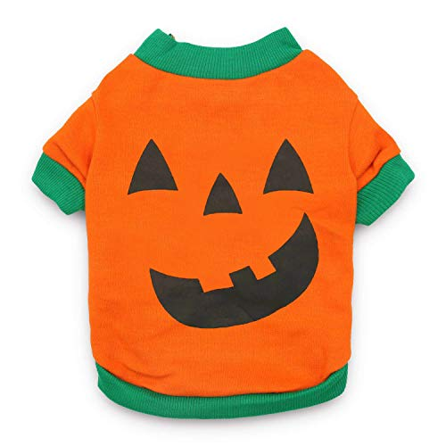 DroolingDog Pet Clothes Dog Halloween T-Shirt Pumpkin Head Costume for Small Dogs, Small, Deep Green -