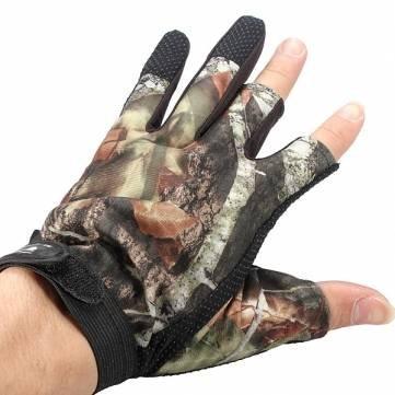 Pakhuis De alta calidad de 3 Cut Finger Proof Guantes antideslizante camuflaje Pesca Caza Agua
