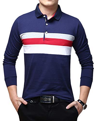 e4d3b09d Lovelelify Mens Polo Shirts Casual Long Sleeve Stripe Slim Fit Shirt US  L/Asian 3XL