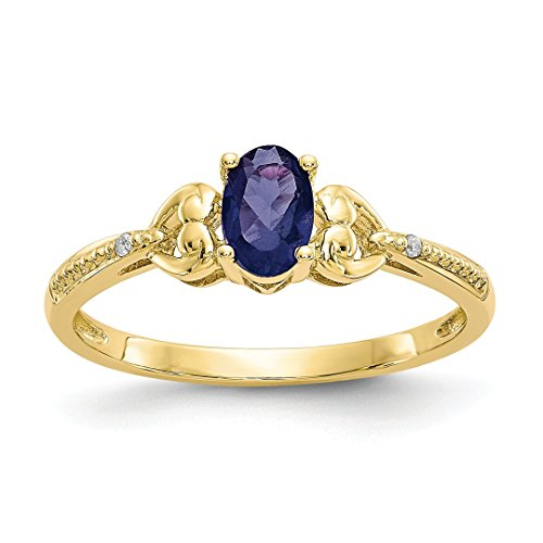 ICE CARATS 10kt Yellow Gold Sapphire Diamond Band Ring Size 7.00 Stone Birthstone September Oval Style Fine Jewelry Ideal Gifts For Women Gift Set From (Best Yellow Sapphire)