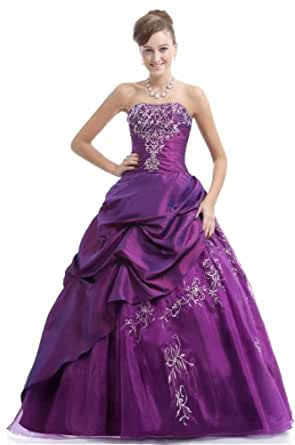 Amazon.com: FairOnly Purple Taffeta Strapless Quinceanera