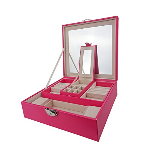 Lanscoe Jewelry Box PU Leather Classic Jewelry Organizer Large Mirror & 2 Trays and Soft Velvet Lining Interior Anti-Scratch with Inside Mirror for Women Teens and Girls Pink by Lanscoe