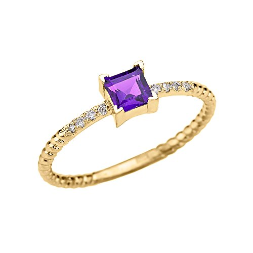 - 10k Yellow Gold Diamond and Princess Cut Solitaire Amethyst Dainty Promise/Engagement Ring(Size 7)