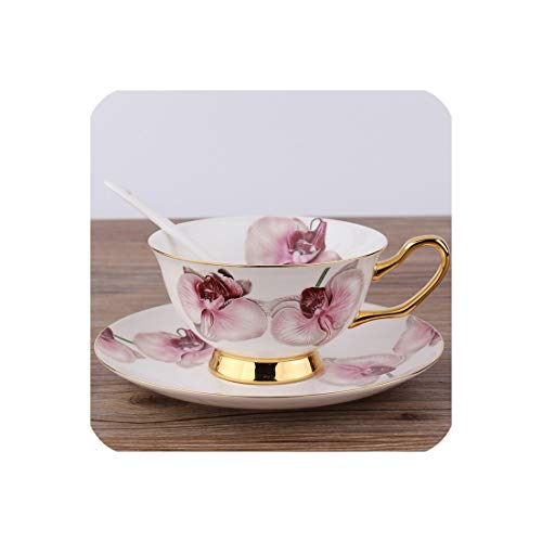 3Pcs/Set First Grade Orchid Coffee Tea Cup Saucer Spoon With Gift Box Ceramic Porcelain Coffee Tea Sets,As Picture Show