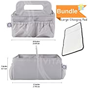 Diaper caddy organizer & changing pad-- easy storage and portable for travel. Great for nursery room. Excellent baby shower gift set- Neutral unisex grey color- by Vitae Nulla