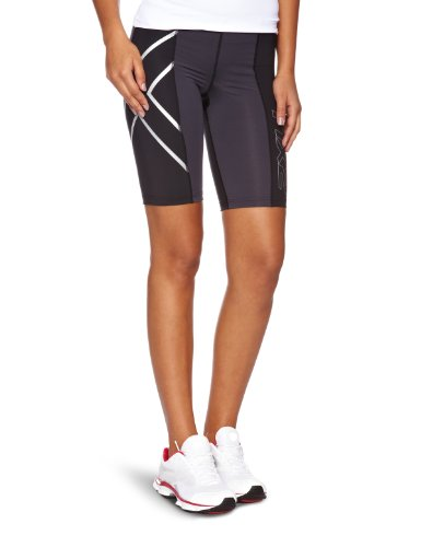 2XU Women's Elite Compression Shorts (Black/Steel, Large)