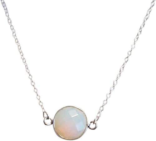 Opalite Quartz 20mm Round Both Side Flat Smooth 925 Sterling Silver Gold Plated Bezel Pendant