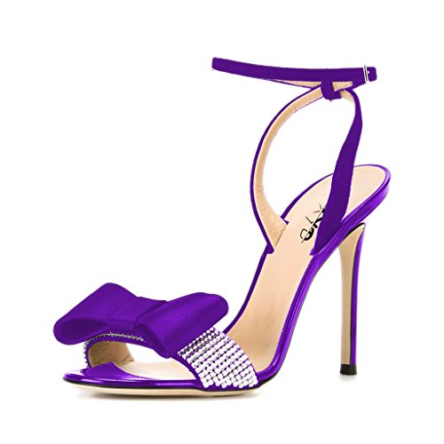 Violet Womens Dress Heels Shoes (XYD Sexy Open Toe Ankle Strap Slingback Elegant Dress Stiletto High Heel Sandals For Women Size 9.5 Violet)
