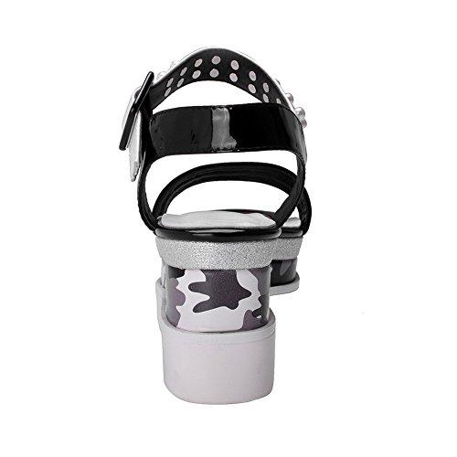 Allhqfashion Mujer's Square Toe Cow Cat Kitten Heels Assorted Colors Sandalias Con Cuentas Blancas