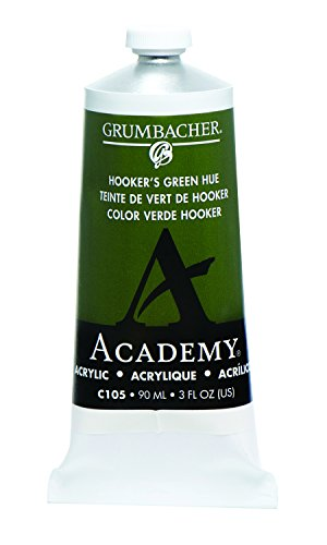 Grumbacher Academy Acrylic Paint, 90ml/3 oz Metal Tube, Hooker's Green Hue