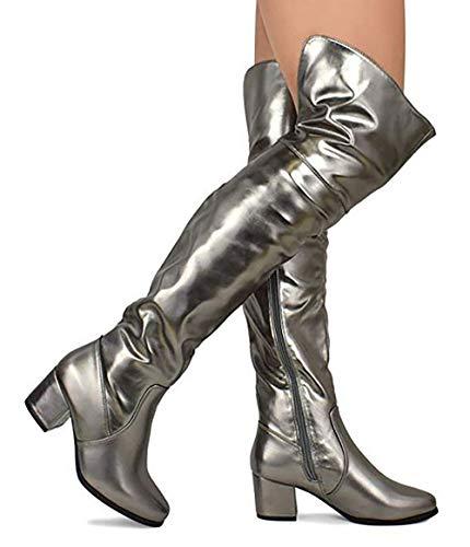 MVE Shoes Womens Over The Knee Stretch Boot - Trendy Low Block Heel Shoe - Comfortable Easy Heel Boot, Pewter Met 9 -