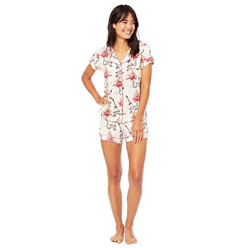 (The Cat's Pajamas La Fleur Eiffel Pima Knit Short Set White )