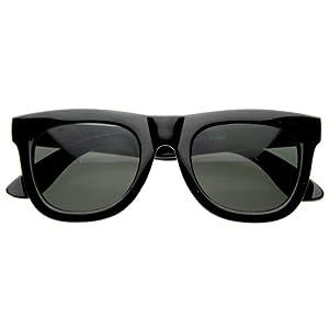 zeroUV - Discount Super Designer Thick Bold Retro Fashion Horn Rimmed Style Sunglasses (Black)