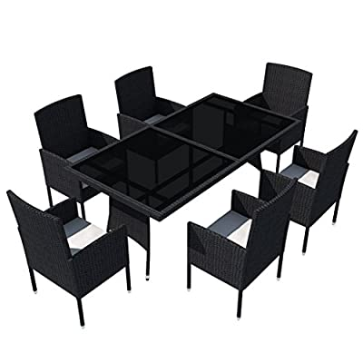 vidaXL Patio Rattan Wicker Garden Seater Dining Set 6 Chair Table Glass Black - Rattan color: Black Cushion color: Cream white Material: PE rattan + steel frame - patio-furniture, dining-sets-patio-funiture, patio - 41SANoibLdL. SS400  -