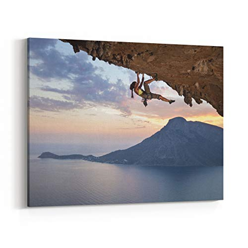 Rosenberry Rooms Canvas Wall Art Prints - Young Female Rock Climber at Sunset, Kalymnos Island, Greece (10 x 8 inches)