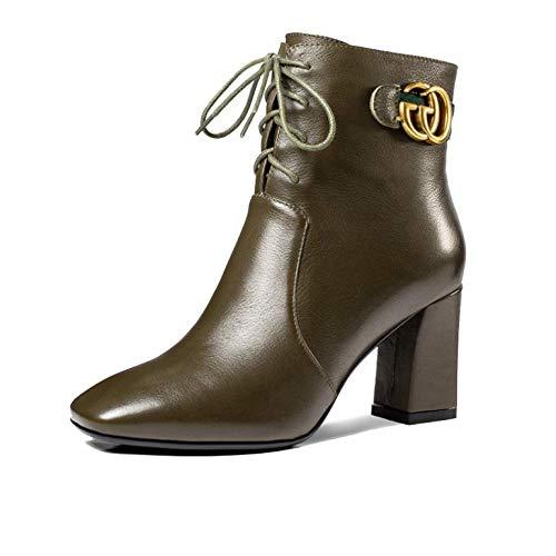 Lacets Confort Talons Fermetures ZPEDY Mode éclair Martin pour Bottes Chaussures Hauts Armygreen Femmes R6wxRvqAU