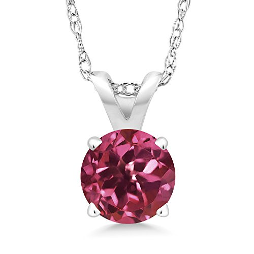 Gem Stone King 14K White Gold Pink Tourmaline Pendant Necklace 0.50 Ct Round 5MM with 18 Inch 14k Chain
