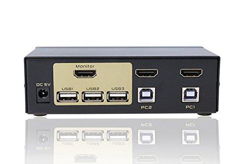 FJGEAR 2 Ports USB 2.0 HDMI KVM Switch Keyboard Mouse Switcher for PC, Windows, (Hdmi Kvm Switch)