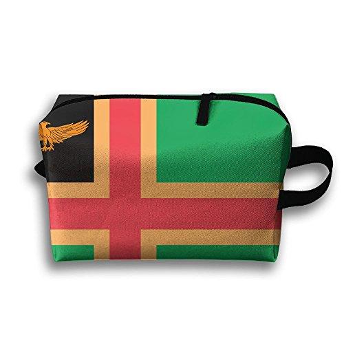 Leather Zanzibar (Leisue Norway Zanzibar Heritage Flag Cosmetic Bag Zipper Makeup Accessories Pouch Toiletries Bags Pen Pencil Power Lines Travel Cases Of Resistance Carry Handle)