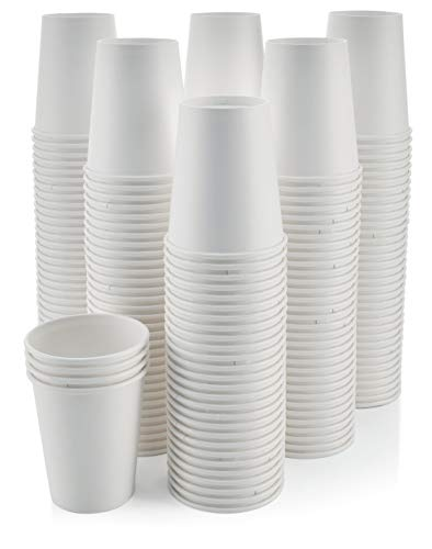 [200 Pack - 8 oz.] Paper Coffee Cups - Disposable White Paper Hot Cups for Coffee, Tea & Hot Chocolate