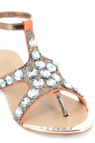 Go Tendance - Sandalias de vestir para mujer dorado - Bronze