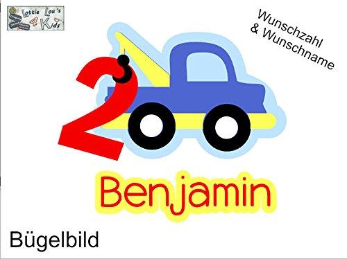 Glitzer Effekt in Wunschgr/ö/ße B/ügelbild Geburtstag Aufb/ügler Auto Abschlepper mit Name und Zahl in Flex Flock