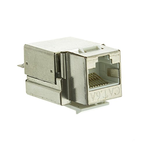 Shielded Cat6a Keystone Jack, RJ45 Female to 110 Punch Down - Inline UTP Lan Modular Patch Stand Punch Down Panel (Modular Mount Faceplate Flush)
