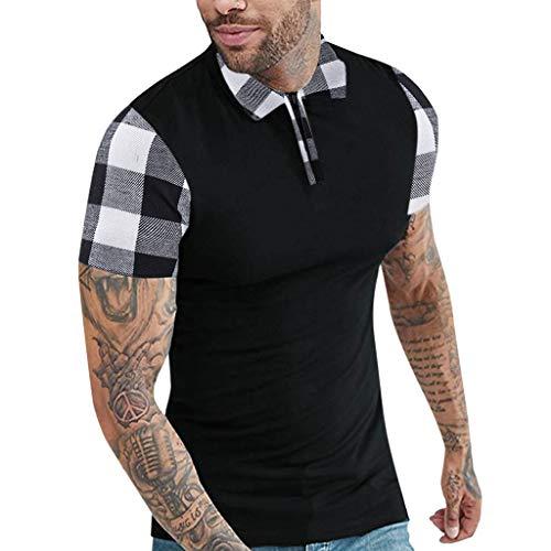Plain Shirts for Men with Zippers,MILIMIEYIK Men's Casual Button Down Hawaiian Shirt Short Sleeve Aloha Shirt Pullover Top Black