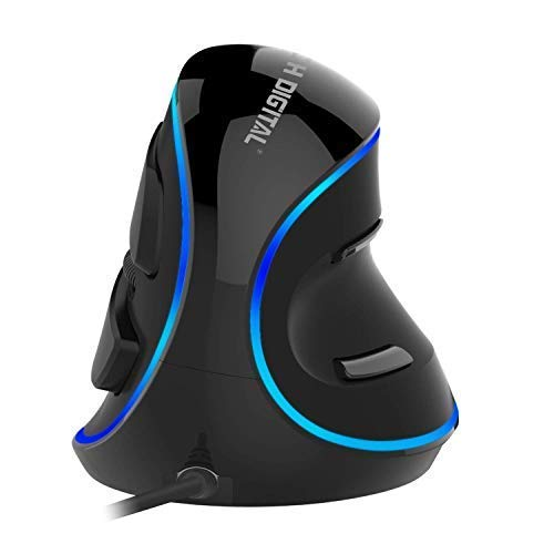 J-Tech Digital Wired Ergonomic Vertical USB Mouse with Adjustable Sensitivity (600/1000/1600 DPI), Scroll Endurance, Removable Palm Rest & Thumb Buttons [V628] (Renewed)