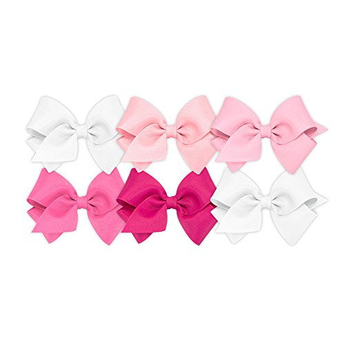 (Wee Ones Girls' Small Bow 6 pc Set Solid Grosgrain Variety Pack on a WeeStay Clip - White, Light Pink, Pearl, Hot Pink, Shocking Pink)