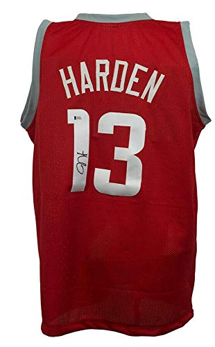James Autographed Red Custom Jersey - James Harden Signed Jersey - Custom Red Pro Style BAS - Beckett Authentication - Autographed NBA Jerseys