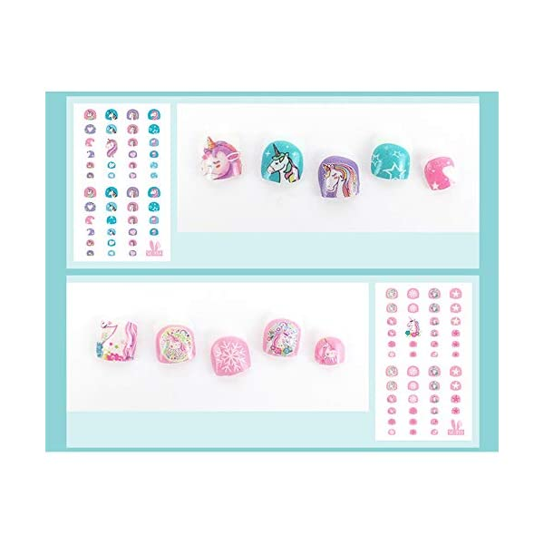 Elesa Miracle Kids Unicorn Nail Stickers for Little Girl Nirl Art Decals Unicorn Party Favor Pretend Play Princess Jewelry 480 Nails 5