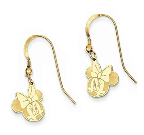 Mickey Dangle Wire Earrings - Roy Rose Jewelry Roy Rose Jewelry Gold-plated Sterling Silver Minnie Mouse Dangle Wire Earrings Trademark and Licensed