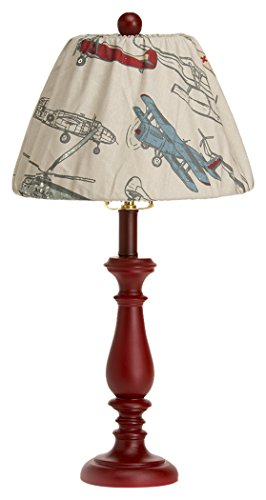 Jean Glenna Table - Glenna Jean Fly-By Lamp, Red Base with Airplane Shade, 9