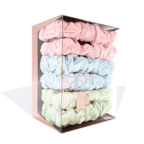 (MYK Silk 100% Mulberry Silk Small Scrunchies Skinnies Set Gentle Hair Tie for Women Girls Curly Hair Friendly, Gift Display Box Small Scrunchies (Box of 6): Pink, Light Blue, Light Green (Pastel Pack) )