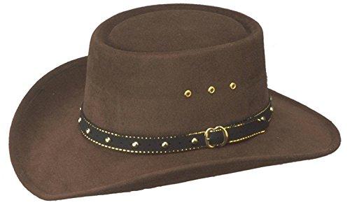 Western Faux Felt Gambler Cowboy Hat -Brown L/XL