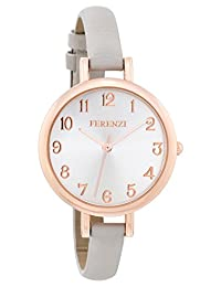Ferenzi Women's | Elegant Large Silver Face Watch with Thin Grey Band | FZ15501