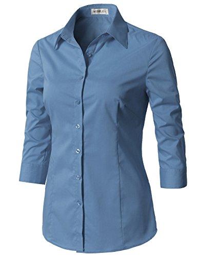(CLOVERY Women's 3/4 Sleeve Cotton Spandex Button Down Shirt Denim L)