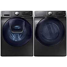 Samsung Mega Capacity Steam HE Front Load Laundry System with Innovative Add-A-Wash Door and ELECTRIC Dryer (WF50K7500AV + DV50K7500EV) Alluring Black Stainless Steel