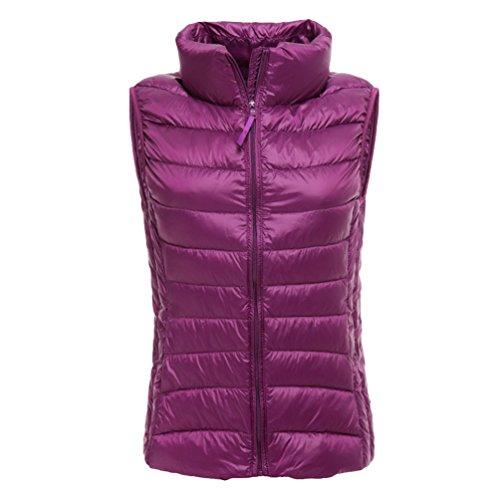 Packable Gilet Yiiquan Winter Collar Stand Women Lightweight Vest Down Purple Body Warmer Outwear wE6zq